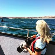 Stephanie works as a photographer and guide onboard a whale watching vessel in Argentina